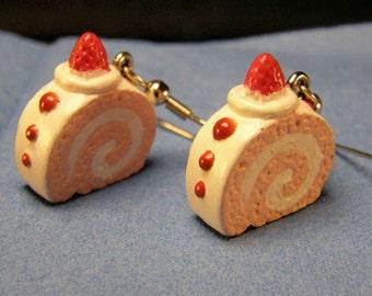 Strawberry Shortcake Swiss Roll earrings on silver French hooks