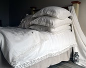 "Natural softened linen duvet cover ""Provincial Living"", Ivory, Queen and King sizes available - HouseOfBalticLinen"