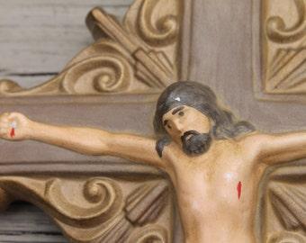 Vintage Ceramic Hand Painted Crucifix