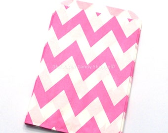 Chevron Favor Bags, 12 Bubblegum Pink Chevron Gift Bags, Popcorn Bags Cookie Bag, Candy Buffet Bags Candy Bag Wedding, Baby Shower, Birthday