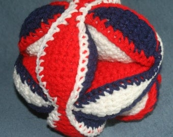 Red White and Blue Crochet Puzzle Ball
