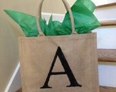 Burlap Personalized Tote Bag with Initial