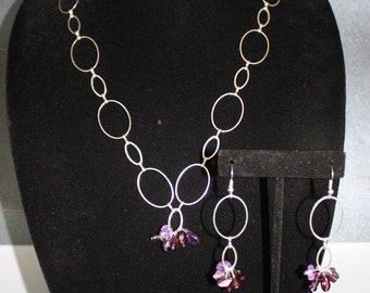 Purple Charm Necklace and Earing Set