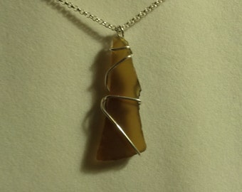 Necklace, Sterling Silver Wrap Sea Glass Pendant, Brown  Beach Glass, with Sterling Silver  Lobster Claw Clasp