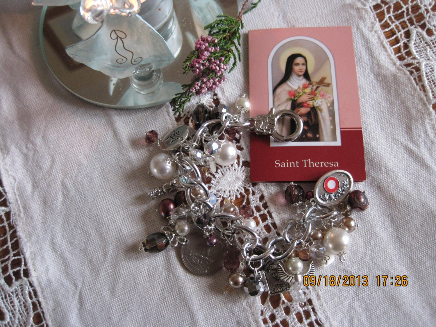 Saint Theresa Holy medal relic charm Braclet by TheBeadForge