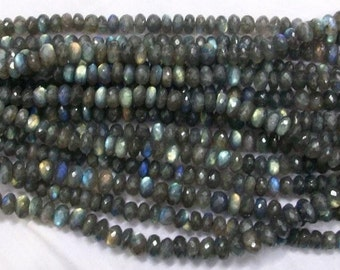 5 strand 3.5mm LABRADORITE Rondelles Beads micro faceted beads -Labradorite Micro Faceted Beads -Faceted Labradorite Beads -wholesale beads