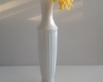 Vintage Grecian Style Milk Glass fluted bud vase