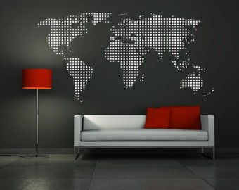 World map squares wall decal home office decor