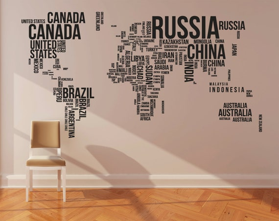 Large World Map Wall Sticker World Map Wall Decal Large