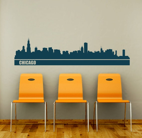 Chicago skyline wall decal by newpoint on etsy for Chicago skyline wall mural