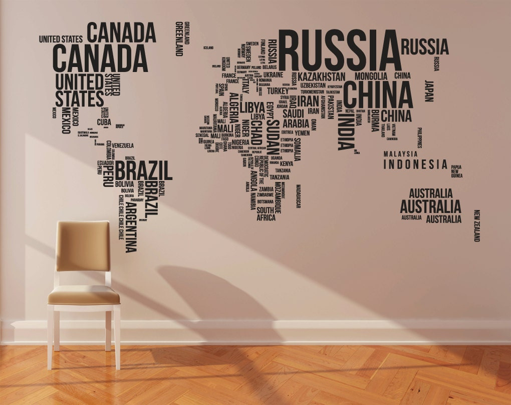 World map sticker for wall india - World Map Wall Decal