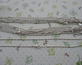 20pcs 1.2mm 16.5 inch silver necklace chain with lobster clasp