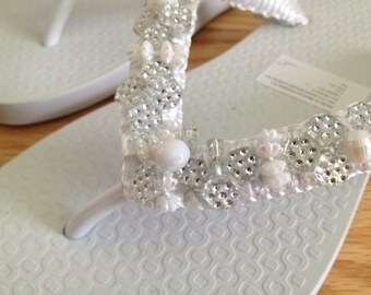 Hand-beaded Flip-flop Sandal in White