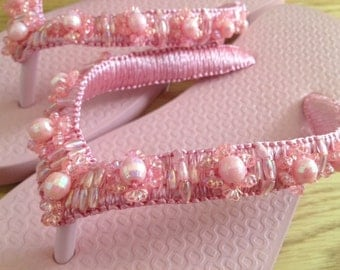 Hand-beaded Flip-flop Sandal in Light Pink (Size 5)
