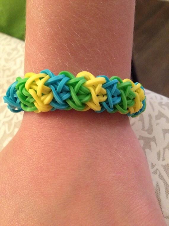 double x rainbow loom bracelet colors green blue yellow
