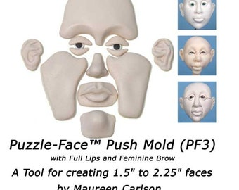 PF3 - Puzzle-Face Mold with Full Lips and Feminine Brow for creating clay faces by Maureen Carlson and Wee Folk Creations