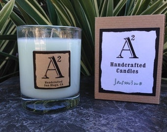 Jasmine Soy Candle / 8oz Glass Container / Natural Eco-friendly Sustainable Wax / Made in America