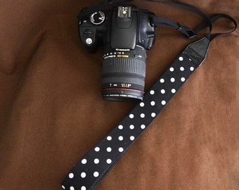 Camera Strap DSLR : B&W Polka dot