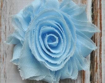 "2.5"" Baby Blue shabby flower trim - frayed chiffon - rose flowers by the yard - JT Baby Blue"