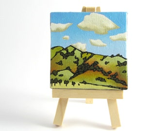 Gift For Him, Office Accessories, Original Landscape Painting, California Mountains, Home Decor, Cubicle/Desk/Office Decor