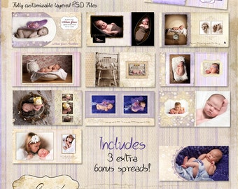 12x12 Album template for photographers - Lavender Fields Album