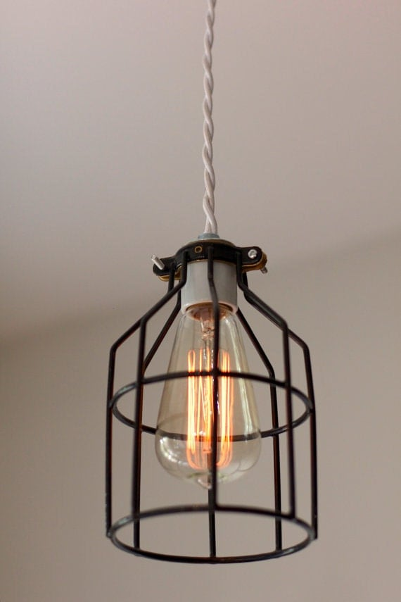 industriel vintage moderne cage luminaire par 7mwoodworking. Black Bedroom Furniture Sets. Home Design Ideas