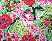 Fabric black swallows bright pink red yellow flowers leaves Cotton Fabric House textilies Fabric Scandinavian Design Scandinavian Textile