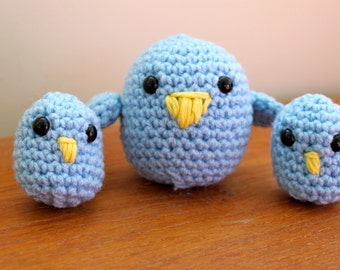 Easter Chicks Spring Blue Birds- Ready to Ship