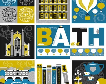 Bath City giclée print in blue and mustard