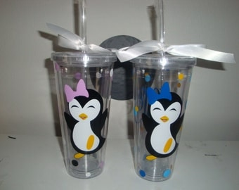 Penguin theme double wall tumbler - done in your choice of colors (up to 3)