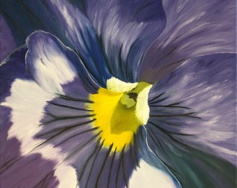 """Pansy Oil Painting, Flower Painting, Purple Pansy, Small, Original Oil Painting - """"Purple Pansy"""" (18"""" x 18"""" One of a Series)"""