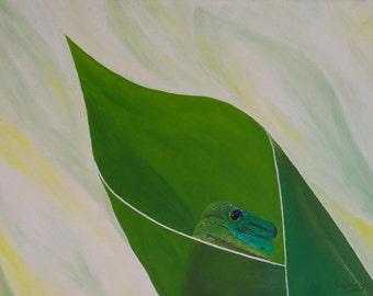 """Gecko Painting, Lizard, Gecko, Green, Original Oil Painting - """"Peeking Gecko"""" (12"""" x 16"""" One of a Series)"""