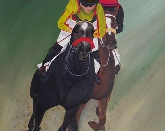 "Original Oil Painting, Horse Race - ""Finish Line"" (16"" x 20"")"