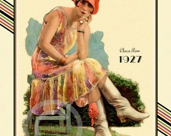 Art Deco Classic Icon, hollywood actress, Clara Bow Print, Dressed in Boots, Cloche Hat, Rare Silent Screen Giclee Fine Art Print 11x14 1927