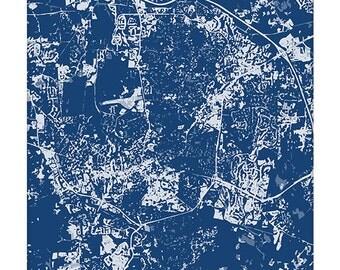 Chapel Hill Cityscape / UNC North Carolina Map Art Print City Wall Art / 8x10 Poster / Choose your color