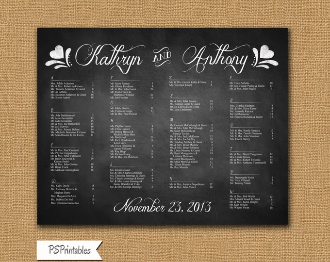Rustic Chalkboard Printable Seating Chart - Let Love Bloom Collection