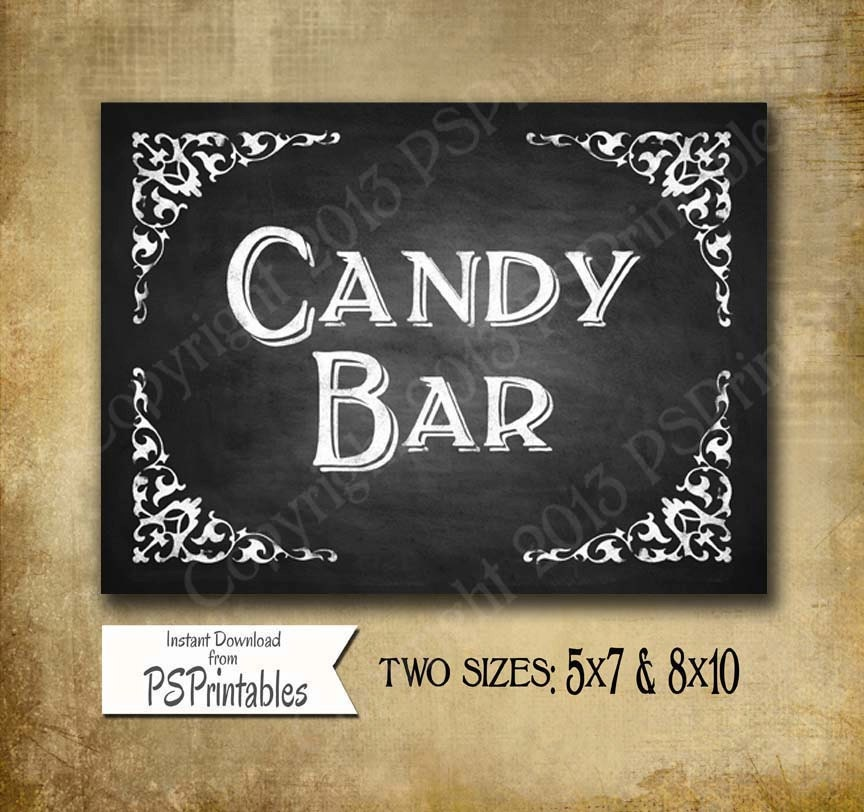Chalkboard style CANDY BAR wedding sign DIY Printable