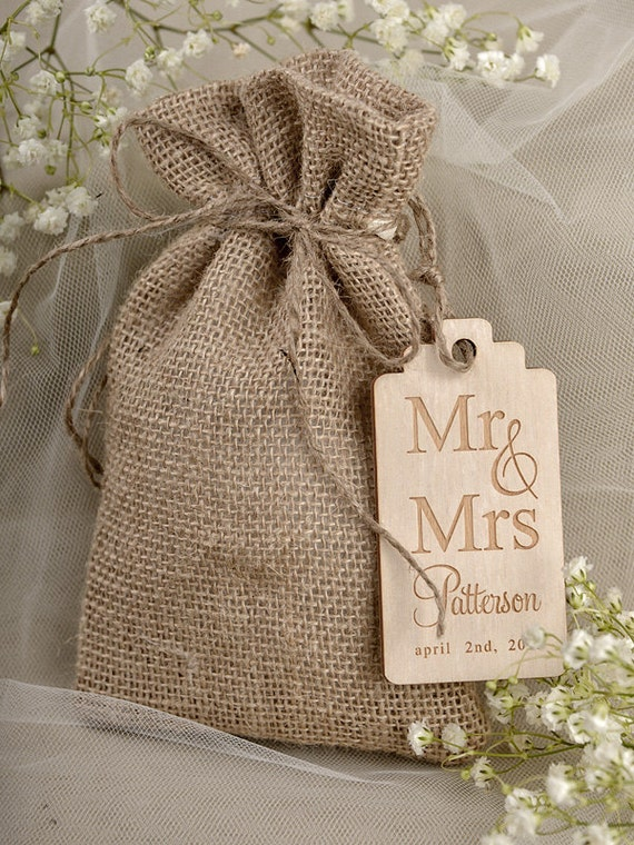 items similar to natural rustic burlap wedding favor bag   birds in love wedding favor bags