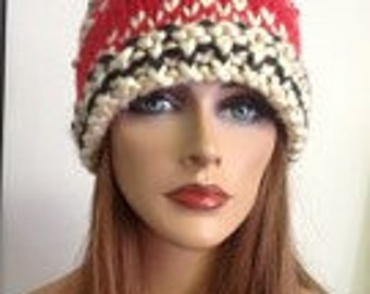 Hand Knit Beanie Hat Sold Special  Order Only Multicolor Designer Original Fashion