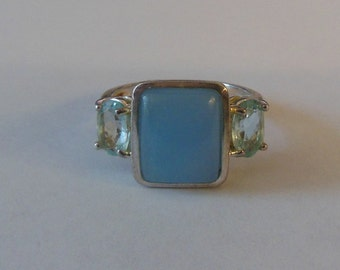 SALE! 925 Sterling Silver Blue Stone Crystal Ring Size 8
