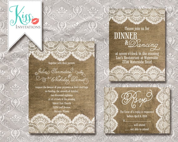 Wedding Invitations With Burlap: Items Similar To Printable Wedding Invitation Burlap And