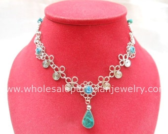 Green Turquoise Teardrop Alpaca Silver Flowers Inca Necklace Peruvian Jewelry Art - Handmade in Peru