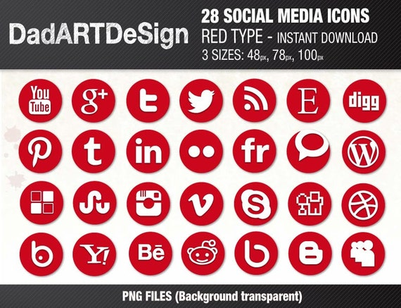 28 Circle social media icons red