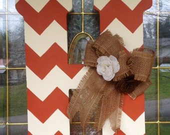 Chevron Monogram Door Hanger with Burlap Bow and Flowers