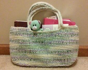 Ecru and multicolor crochet tote bag