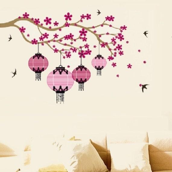Lanterne chinoise fleur arbre mural autocollant par for Autocollant mural arbre