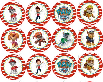 Paw patrol personalized 20 stickers stickers cupcake toppers