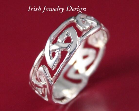 Mens celtique irlandais mariage bague argent bande de mariage celtique