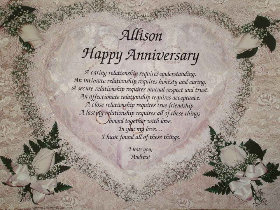 Happy Anniversary Or Wedding 1st 5th 10th By WePersonalizeGifts