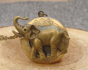 Antique Brass Elephant Locket Necklace Victorian Jewelry Gift Vintage Style